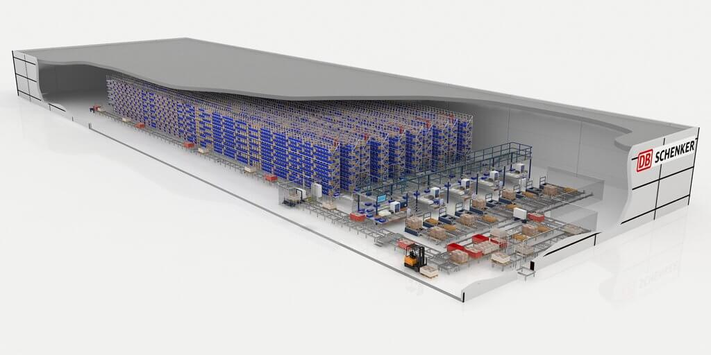 The automated small parts warehouse offers a capacity of 27,500 shelf spaces in five lanes.