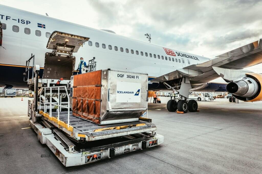 Freight is also loaded in special containers in the belly of the plane. © DB Schenker