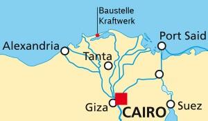 Karte des Nordens von Ägypten mit der eingezeichneten Kraftwerks-Baustelle