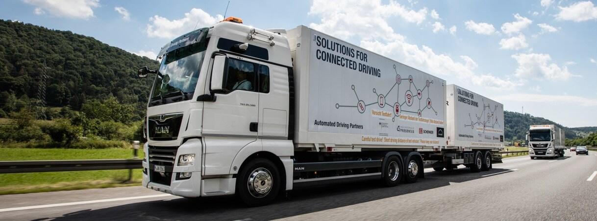 DB Schenker and MAN launch world's first vehicle platoon – on the way towards autonomous driving