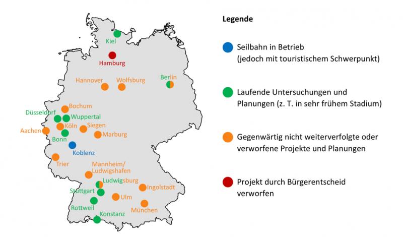 22 deutsche Städte haben sich bereits an Seilbahnen versucht – drei Städte haben es geschafft. Quelle: Max Reichenbach, Maike Puhe: Praxis urbaner Luftseilbahnen. KIT Scientific Working Papers, Karlsruhe 2017.