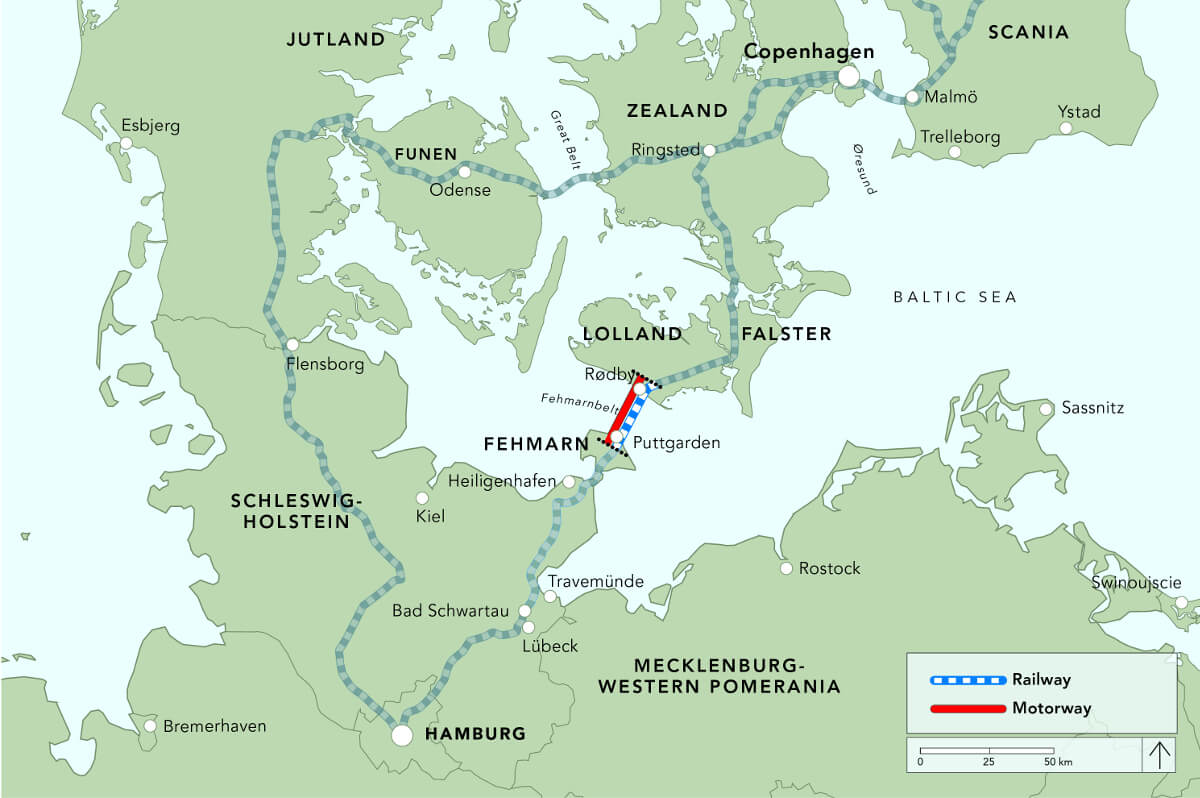 Map of the area around the Femarn Belt Tunnel © Femern A/S