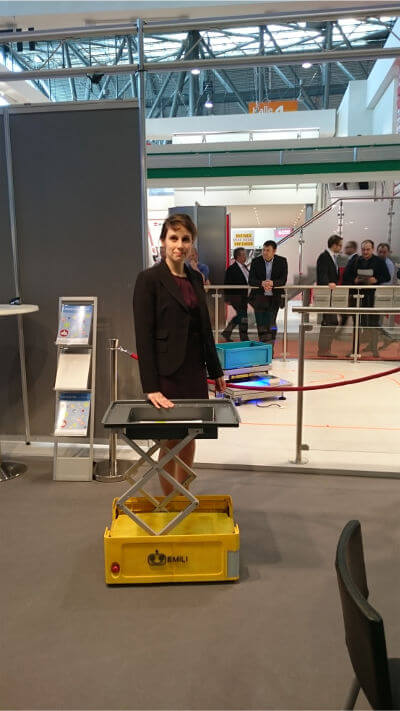 The inventor Jana Jost and robot Emili