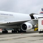 747 cargo aircraft at Rostock-Laage Airport for the first time
