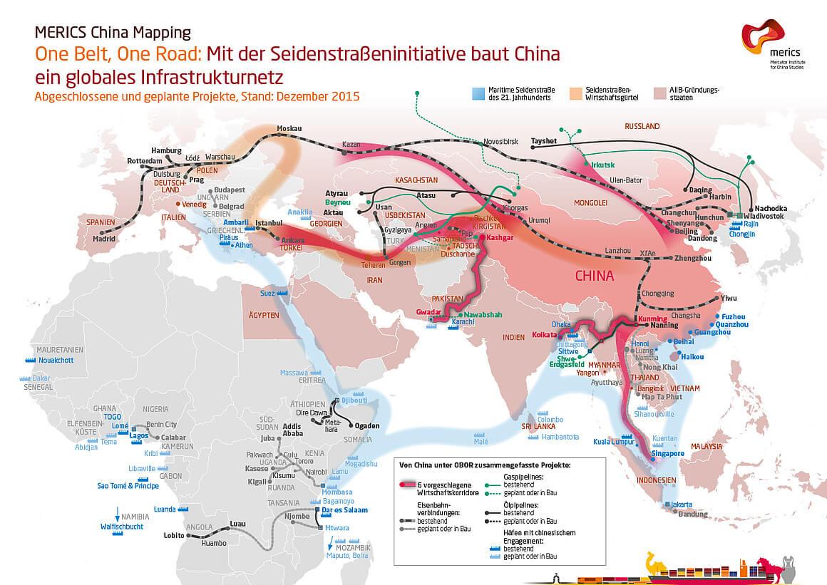 Die neue Seidenstraße auf einer Karte von Europa bis China