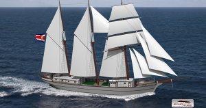 Ceiba the emission-free cargo sailing ship. Foto DVS Marine Desgin. Photo DVS Marine Desgin